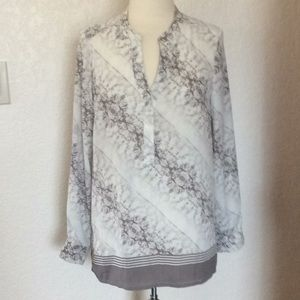 Rose and Olive gray and white marble color blouse